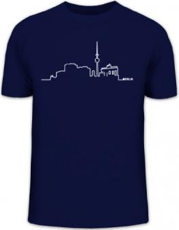 Shirtstreet24, Skyline Berlin, Berlin City Dickes B Städte Herren T-Shirt Fun Shirt Funshirt, Größe: M,dunkelblau - 1